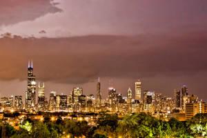 Chicago in a heat lightening storm by arnaudperret