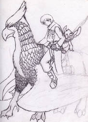 Artemis and Wind the Griffin by WindyKid