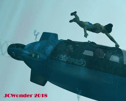 Wonder Girl vs minisub by jcwonder