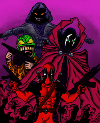 Crossover: Deadpool/The Mask/Spawn/The Guy by Shizi-kroc