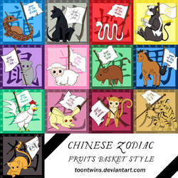 Fruits Basket Zodiac Stickers by ToonTwins