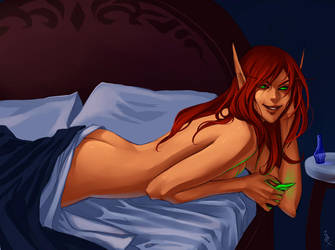 WoW: Lady Liadrin in bed by Altana