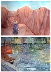 Watercolour journal sketches by yueyuetan