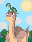 Skitter on Littlefoot's head by MCsaurus