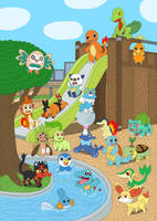 Starter Pokemon in the playground by MCsaurus