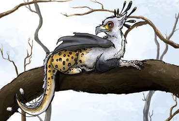 Secretary Bird Leopard Dracogriff by painted-flamingo