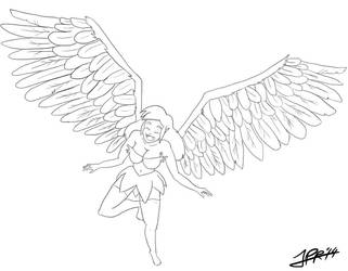 Winged Fairy Sketch by Jorculio