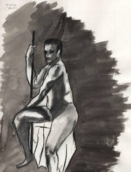 Watercolor and Charcoal Gesture by crossed-fingers