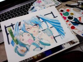 Hatsune Miku and Hachune by yanawookie
