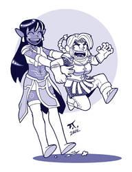 Deva and dwarf by PsychoCaptain