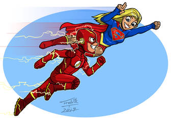 Supergirl and The Flash by PsychoCaptain