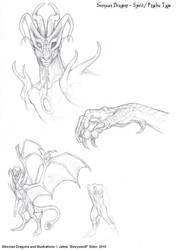 Spirit Dragon sketches by Emryswolf