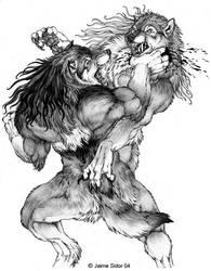 Dyre Battle by Emryswolf