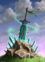 Celtic crystal sword of Power (print version) by VenskeArts