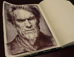 Clint Eastwood by Rafik Emil H - Ballpoint Art by rafikemil