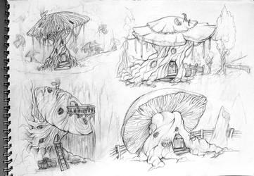 mushroom houses by WhiteLeyth