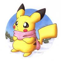 Winter Pikachu by artsyury