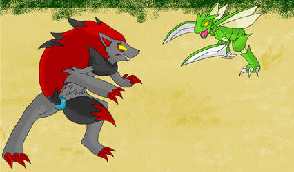 Zoroark VS Scyther by icefeatherartist