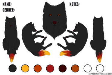 Fire themed wolf adopt (OTA) by Blue-White-Wolf