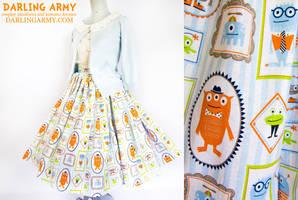 Dapper Monsters Vintage Inspired Tea Length Skirt by DarlingArmy
