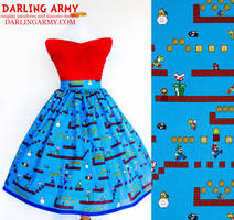 Super Mario Bros Vintage Inspired Tea Length Skirt by DarlingArmy