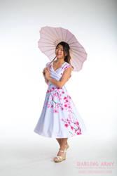 Blue Ombre Sakura Printed Tea Length Dress by DarlingArmy