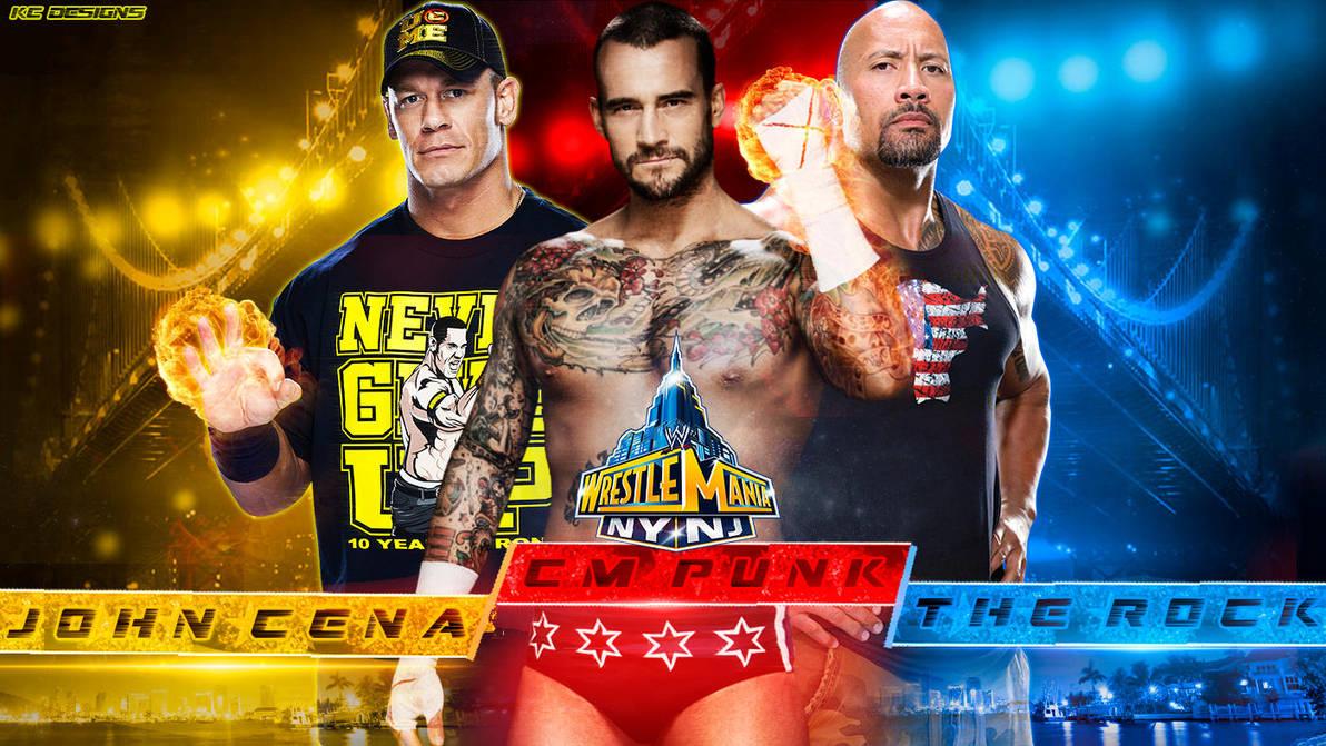 The Rock Vs Cm Punk Vs John Cena Wallpaper Wm 29 By Kcwallpapers On