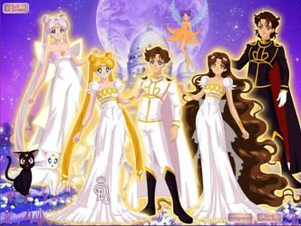 Moon royal family silver milennium (whole family) by HeartStorm4ever