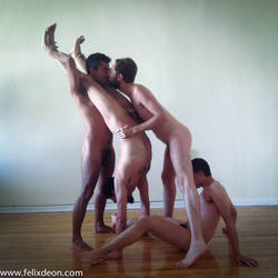 Simulated Gay Sex Stock - Four Boys by TheMaleNudeStock