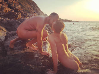 nude men kissing in the surf. Mermen 3 by TheMaleNudeStock
