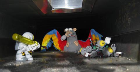 Dexidroid vs. Ratbird by sashafiero