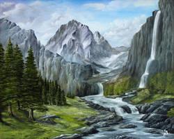 Mountain waterfalls by JozefBalaz