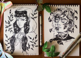 Ink Practice ~ nature fae girl and guy by Amourinette