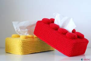 Crochet Lego Bricks Tissue Box Covers [tutorial] by Ahookamigurumi