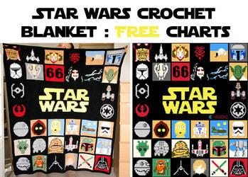 Star Wars crochet blanket : free charts by Ahookamigurumi