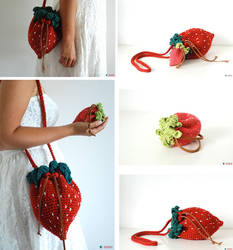 Strawberry bag and purse - crochet by Ahookamigurumi
