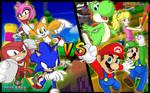 Team Sonic vs Team Mario by Sauron88