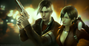 Leon Kennedy and Ada Wong (Biohazard 4, RE6 suit) by SweeetRazzbery