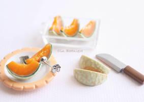 Melon fruit earrings jewelry by LaNostalgie05