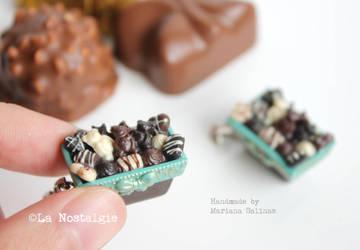 A box of Chocolates Pendant miniature food Jewelry by LaNostalgie05