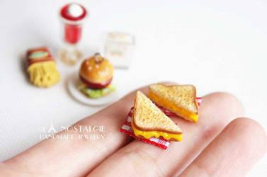 Toasted Cheese Sandwich Studs Earrings Jewelry by LaNostalgie05