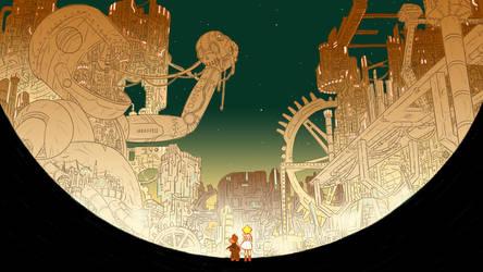 Futuristic City At Night by HeyWei