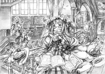 Scarlet devil mansion library by Nattorin