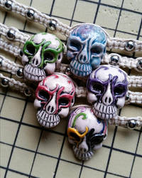 Hemp Skull Choker Necklace by silhouettes-spirits