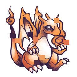 Pixelated Lizardon sprite by sinner-moon