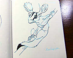 Inktober2016 day 20: Suger glider moose by Clean3d