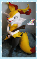 old custom 1mt braixen plushie by chocoloverx3