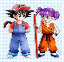 Son Goku and Arale Norimaki by Lily-Skadi