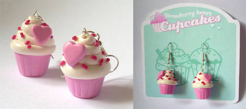 Pink Heart Cupcake Earrings by InvisibleSnow