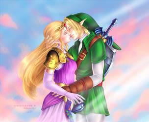 Link and Princess Zelda by SirensReverie